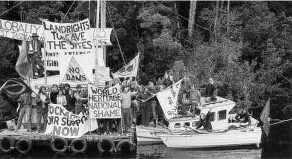 Protesters' Butler Island Camp, Gordon River, February 1983.