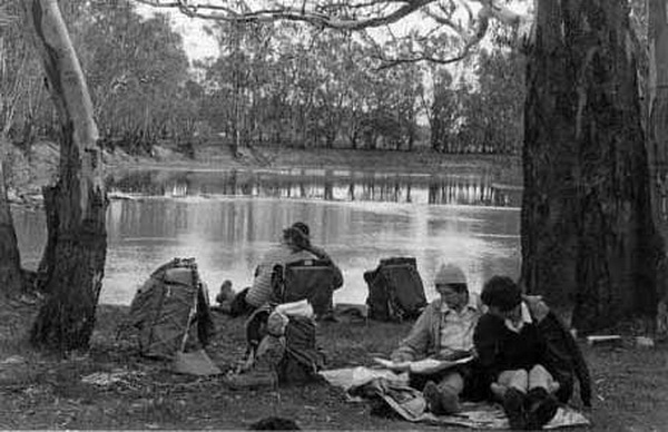 Murray River scene, Clump Point, Barmah Forest, Queens Birthday weekend, 1964.